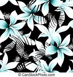 Tropical white frangipani hibiscus with black palms seamless...