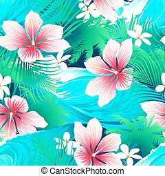 Tropical white hibiscus flowers with green leaves seamless pattern