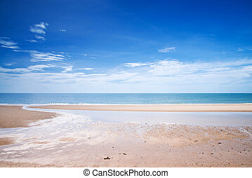 Tropical white sandy beach at sunny day.