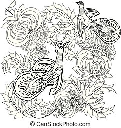 Tropical wild birds and flowers. Coloring book for adult and older children. Coloring page. Outline vector illustration.