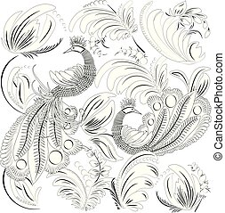 Tropical wild birds and leaves. Coloring book for adult and older children. Coloring page. Outline vector illustration.