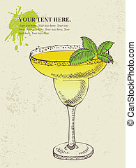Tropical yellow cocktail with mint.