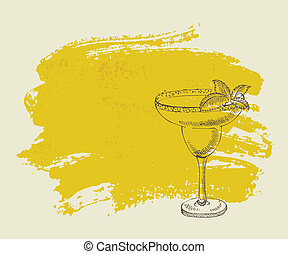 Tropical yellow cocktail with mint