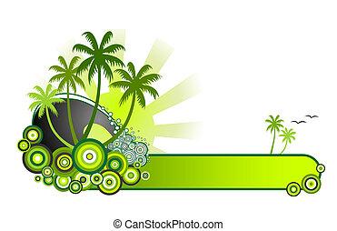 TropicalBanner-Green - Retro style vector illustration of...
