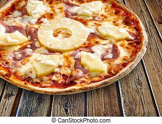 tropicale, 木製である, textured, ピザ, テーブル