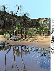 tropicale, 3d, laguna, interpretazione