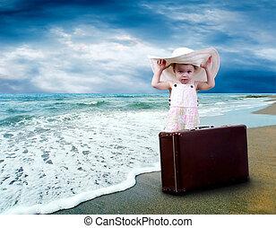 tropicale, bagaglio, spiaggia, giovane bambino