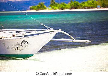 tropicale, barca, piccolo, spiaggia bianca, sabbioso