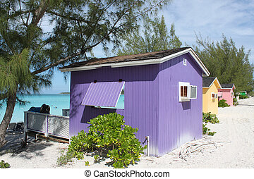 tropicale, cabanas, spiaggia, colorito