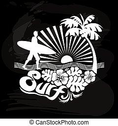 tropicale, calligraph, camminare, surfer