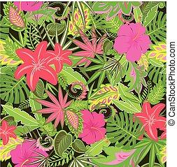 tropicale, carta da parati, con, esotico, ramage