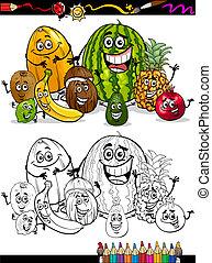 tropicale, cartone animato, libro colorante, frutte