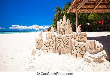 tropicale, castello sabbia, spiaggia, bianco, sabbioso