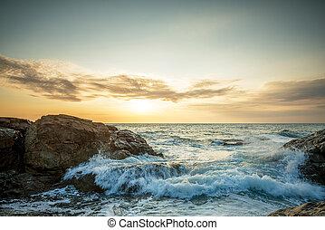 tropicale, colorito, tramonto, a, il, pietre, spiaggia.