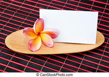 tropicale, concetto, legno, wellness, ciotola, notare carta, plumeria, vuoto, terme