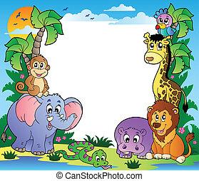 tropicale, cornice, 2, animali