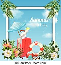tropicale, cornice, fondo, vacanze