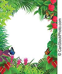 tropicale, cornice, foresta, fondo