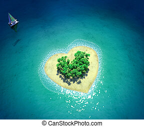 tropicale, cuore, forma, isola