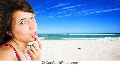 tropicale, donna, spiaggia, giovane
