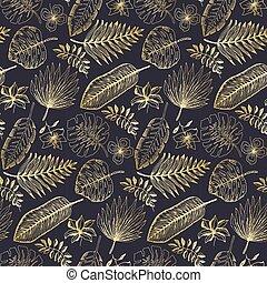tropicale, dorato, foglie, elegante, modello