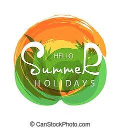 tropicale, estate, ciao, fondo., citazione