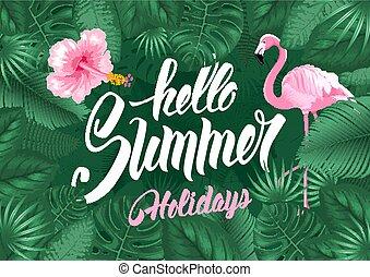 tropicale, estate, cornice, disegno, ciao