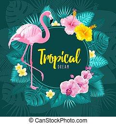 tropicale, estate, cornice, disegno, rotondo