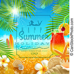 tropicale, estate, disegno, vacanza