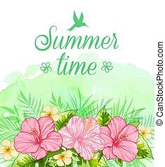 tropicale, estate, fiori, sfondo rosso