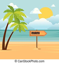 tropicale, estate, scena spiaggia