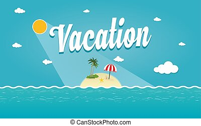 tropicale, estate, vettore, illustrazione, isola