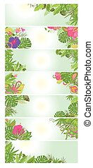 tropicale, floreale, bandiere, summery, fiori