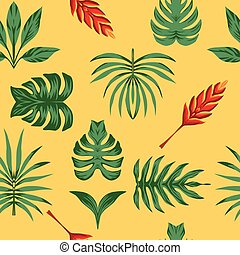 tropicale, foglie, composizione, simmetria, seamless