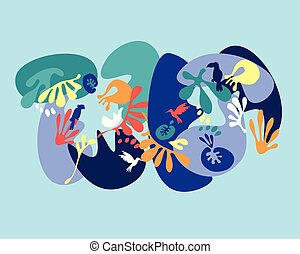 tropicale, foglie, fondo, colorito, uccello