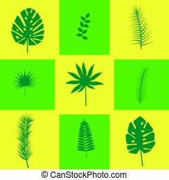 tropicale, foglie, fondo, giallo