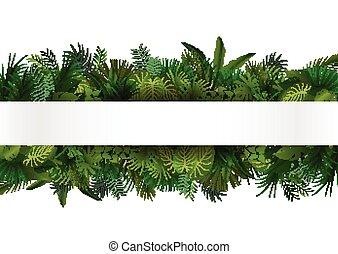 tropicale, foliage., disegno floreale