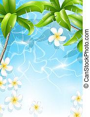 tropicale, fondo, con, fiori, in, acqua
