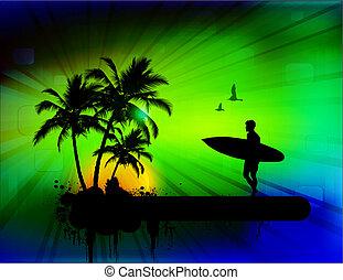 tropicale, fondo, con, surfer