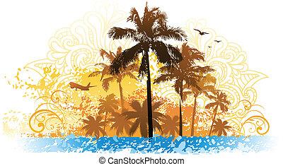 tropicale, grunge, disegno
