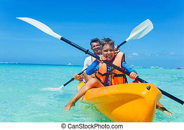 tropicale, kayaking, padre, oceano, figlio