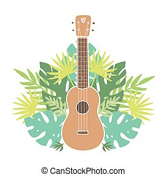 tropicale, leafs., ukulele