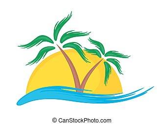 tropicale, logotipo, island.