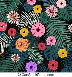 tropicale, luminoso, vettore, fiori, illustrazione
