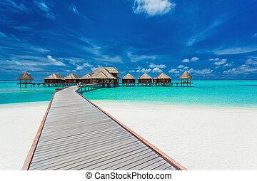 tropicale, maldive, ville, overwater, laguna