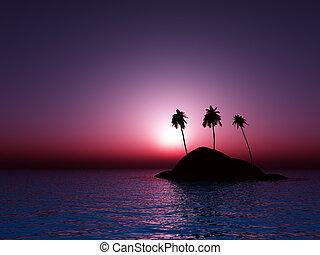 tropicale, mare, tramonto