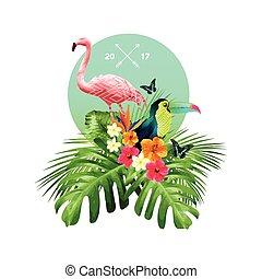 tropicale, mazzolino, disegno