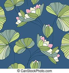 tropicale, modello, fiore, waterlily, seamless