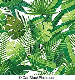 tropicale, modello, foglie, seamless