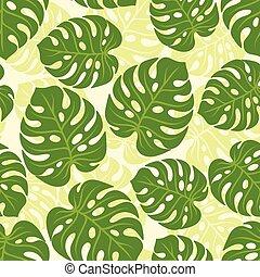 tropicale, modello, leaves., seamless, stilizzato, monstera